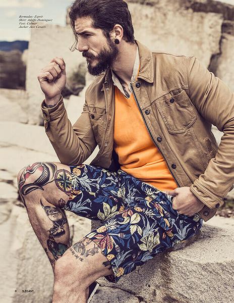 Fotografía de modelo masculino en una cantera